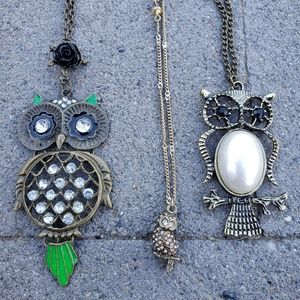 Lot of 3 owl necklaces! (D)